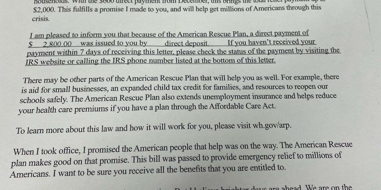 IRS Letter Promotes President Biden